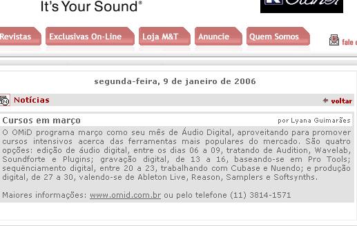 Musitec. Audio, Musica e Tecnologia. OMiD: Academia de Audio. Cursos de Audio, Acustica, Producao Musical, Composicao, Musicalizacao, Music Business e Software de Audio.