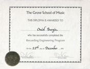 Grove_School of Music, Recording Engineering Diploma