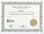 Meyer Sound Sound System Design Certificate