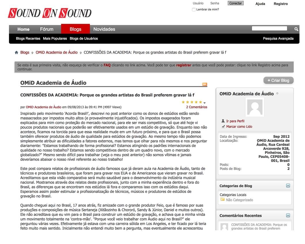 Artigos de Áudio e Acústica na Sound on Sound