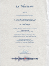 Diploma de Mastering Engineer, Tischmeyer