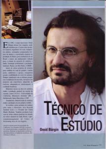 Omid Burgin ganha destaque como melhor Técnico de Som 2004 do Brasil.